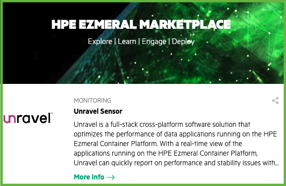Unravel in HPE Ezmeral Marketplace